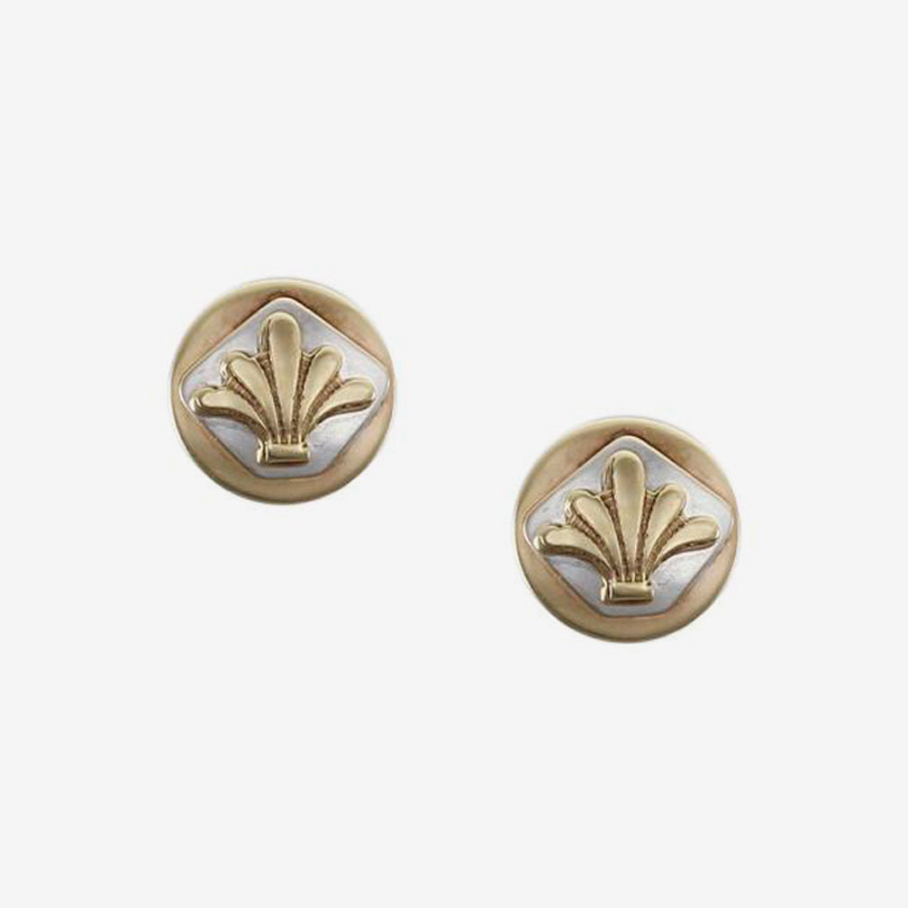Marjorie Baer Post Earrings: Small Disc with Diamond and Leaves