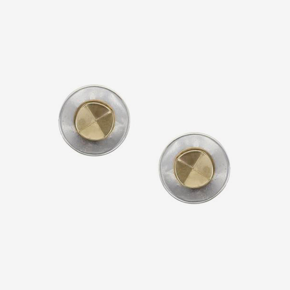 Marjorie Baer Post Earrings: Small Disc with Folded Disc