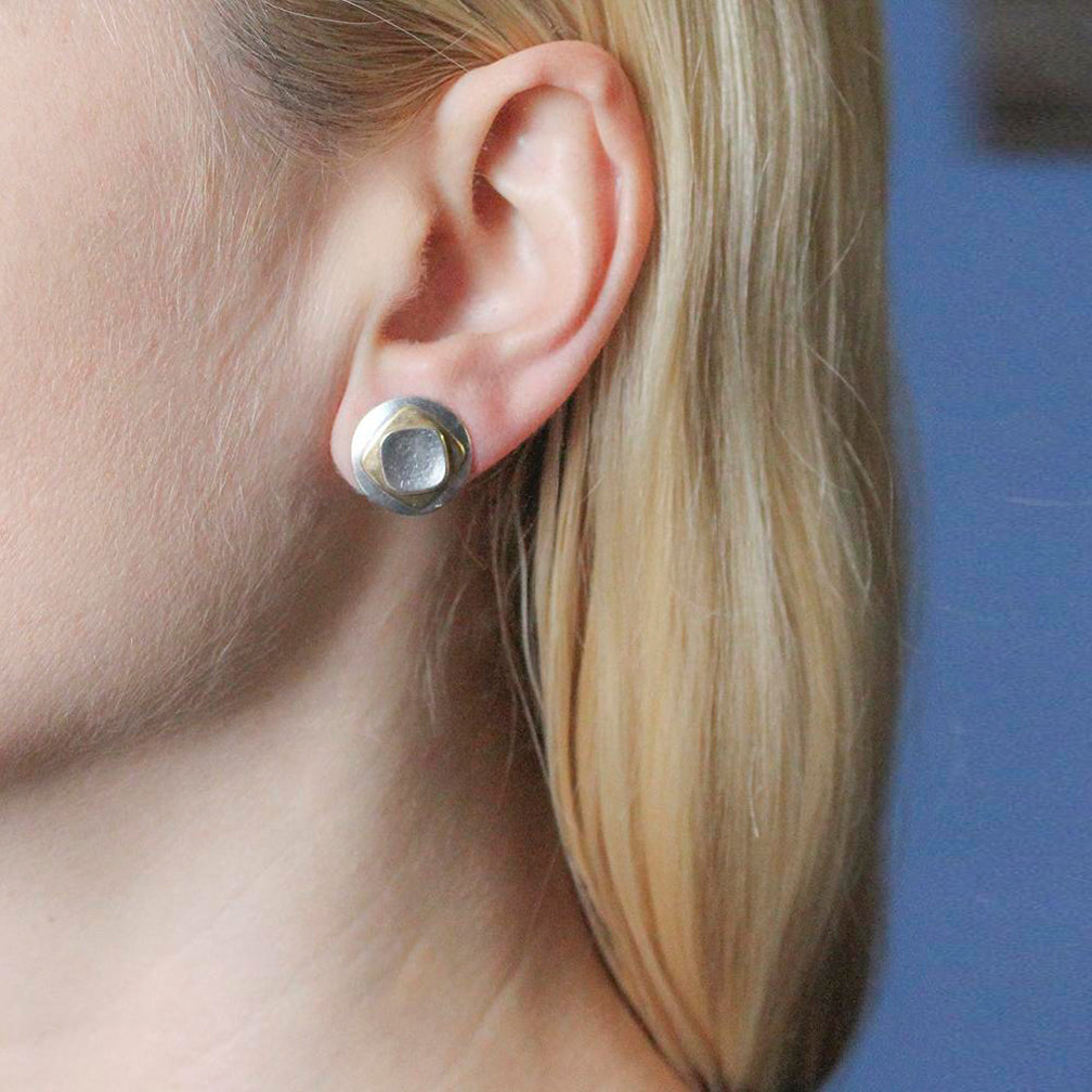 Marjorie Baer Post Earrings: Domed Disc with Stacked Rounded Squares