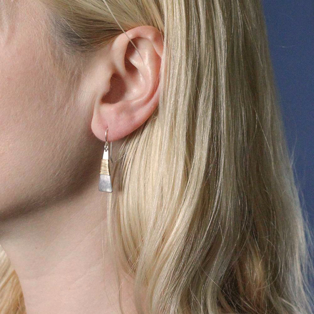 Marjorie Baer Wire Earrings: Small Wire Wrapped Narrow Triangle