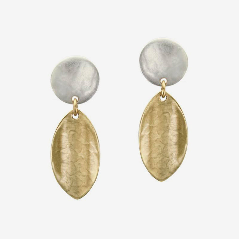 Marjorie Baer Post Earrings: Disc Linked with Concave Leaf