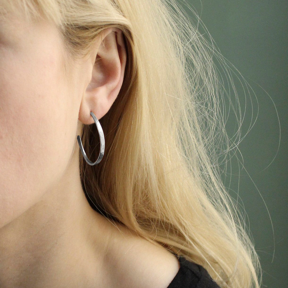 Marjorie Baer Post Earrings: Hammered Hoop: Silver