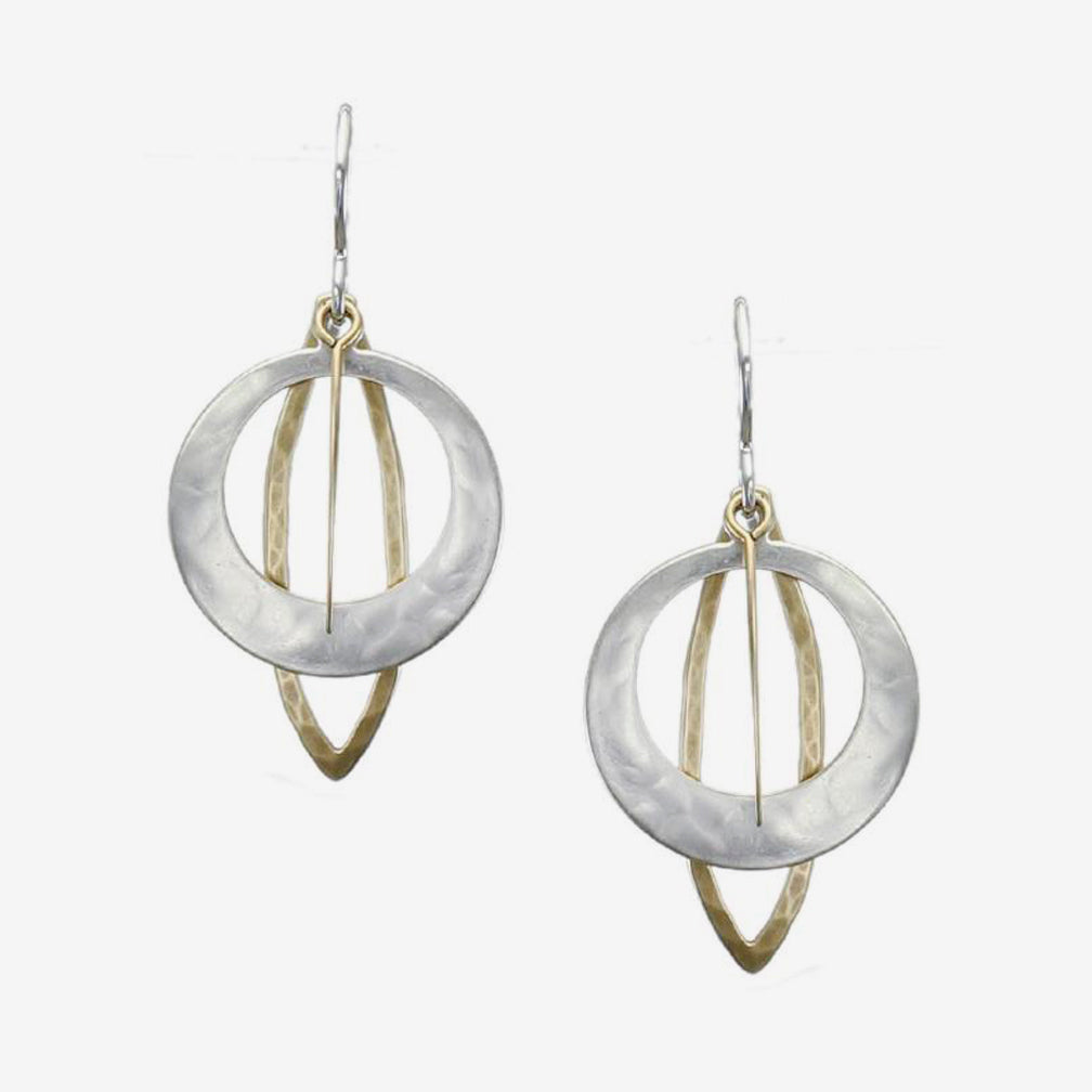 Marjorie Baer Wire Earrings: Cutout Discs with Leaf Rings