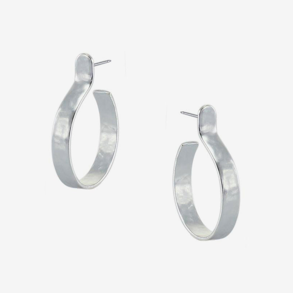 Marjorie Baer Post Earrings: Small Hoop Earring: Silver