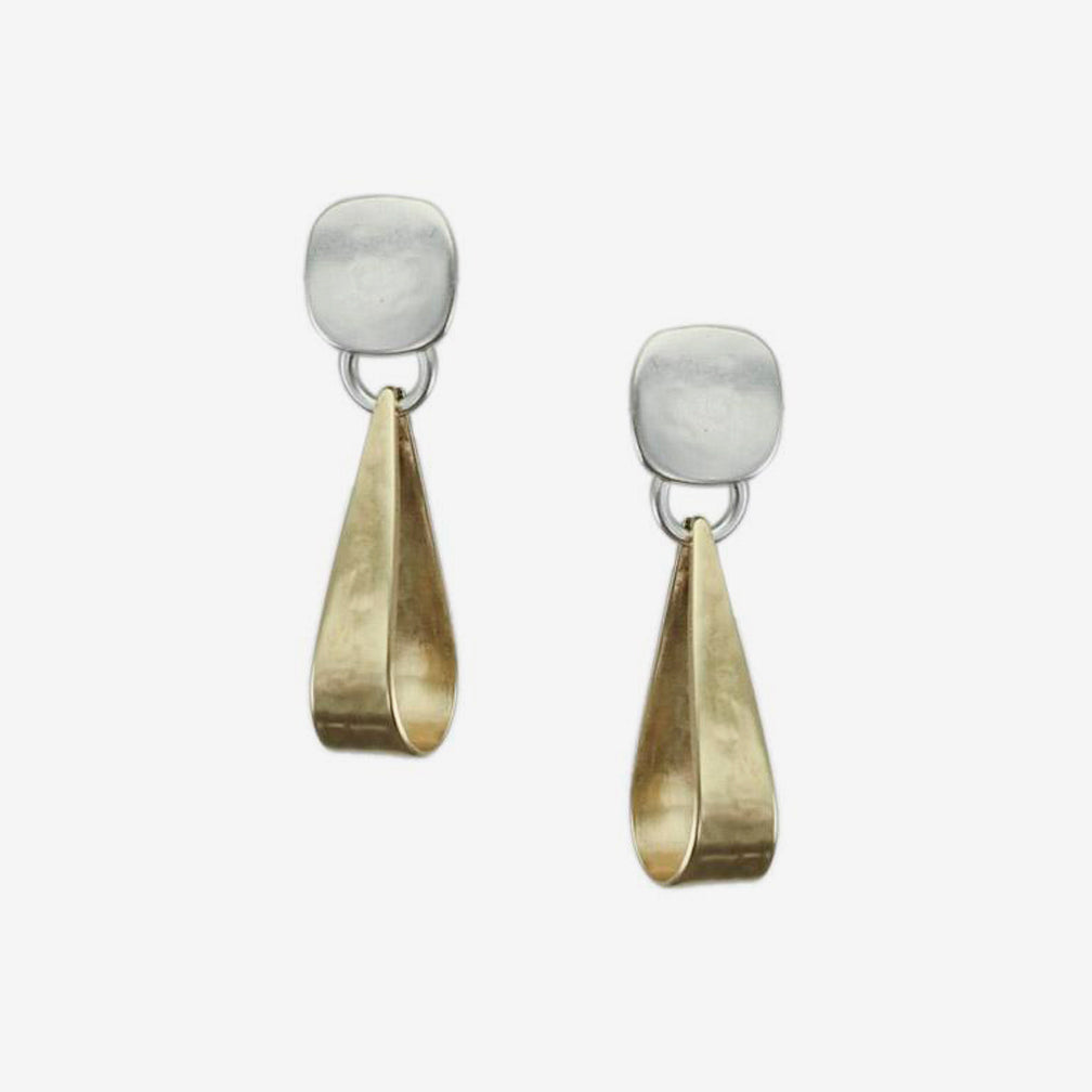 Marjorie Baer: Post Earrings: Small Rounded Square with Long Loop: Brass and Silver