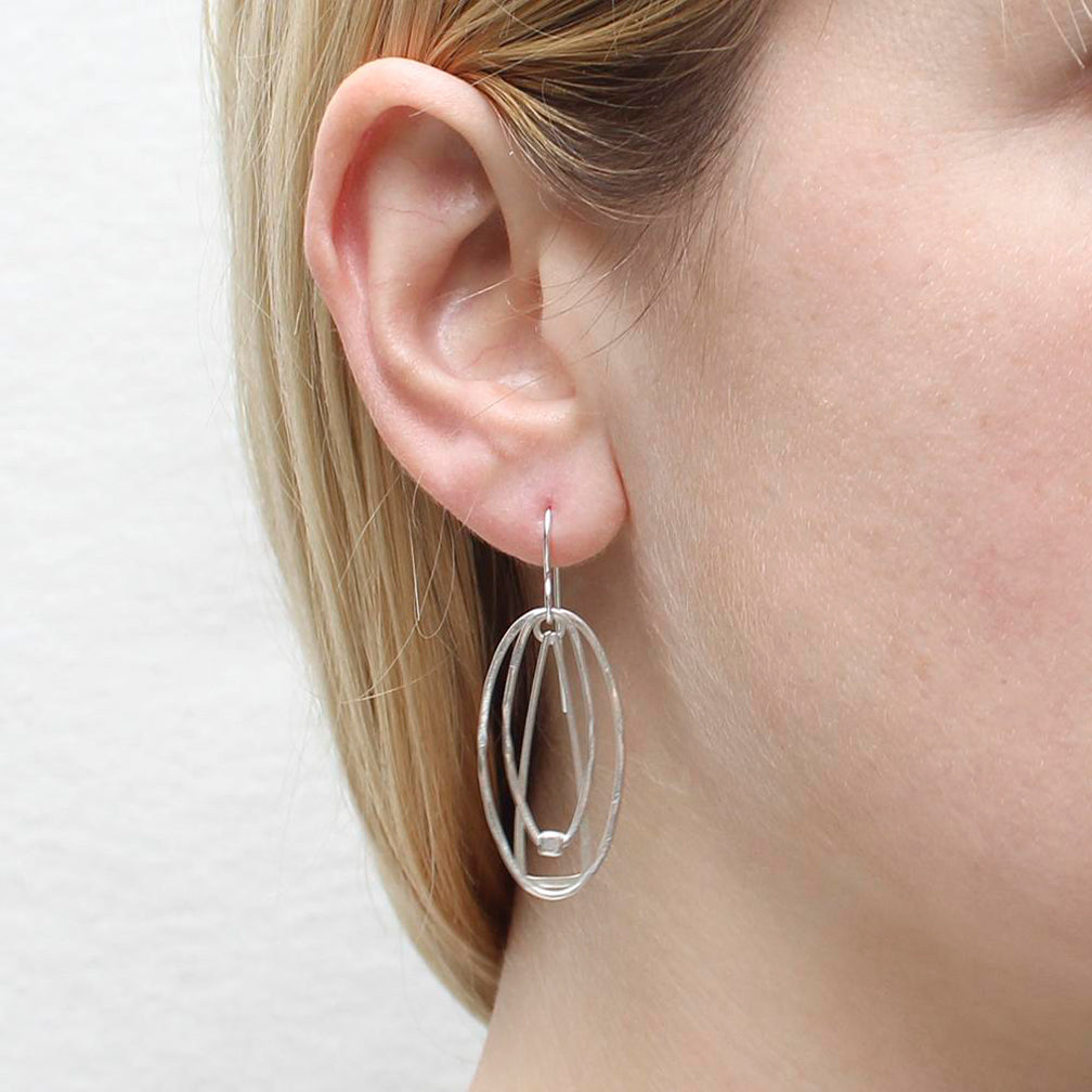 Marjorie Baer Wire Earrings: Layered Rings and Bead: Silver