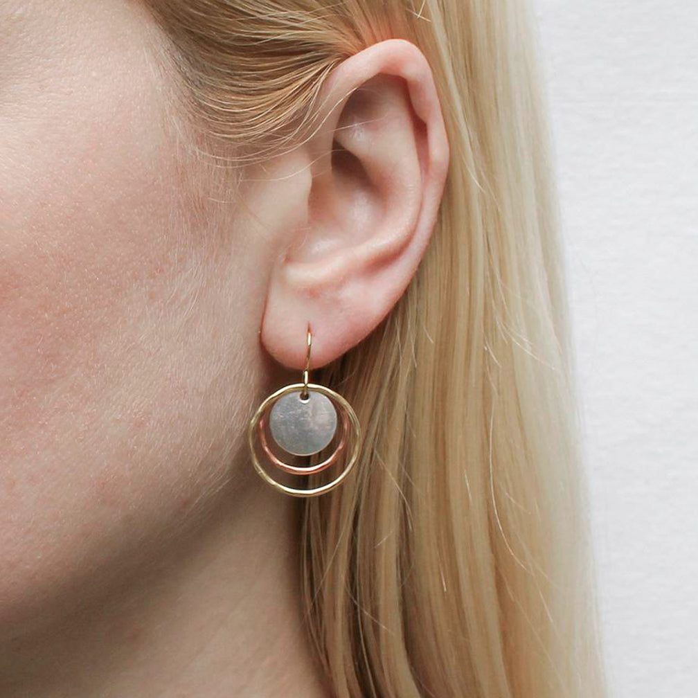 Marjorie Baer Wire Earrings: Hammered Rings and Disc Wire