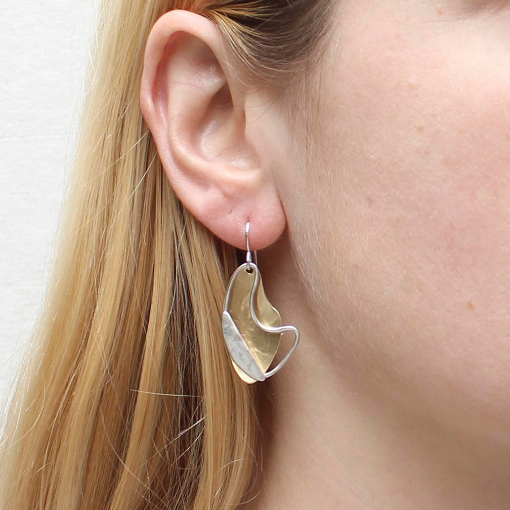 Marjorie Baer Wire Earrings: Layered Swoosh Ring with Slice