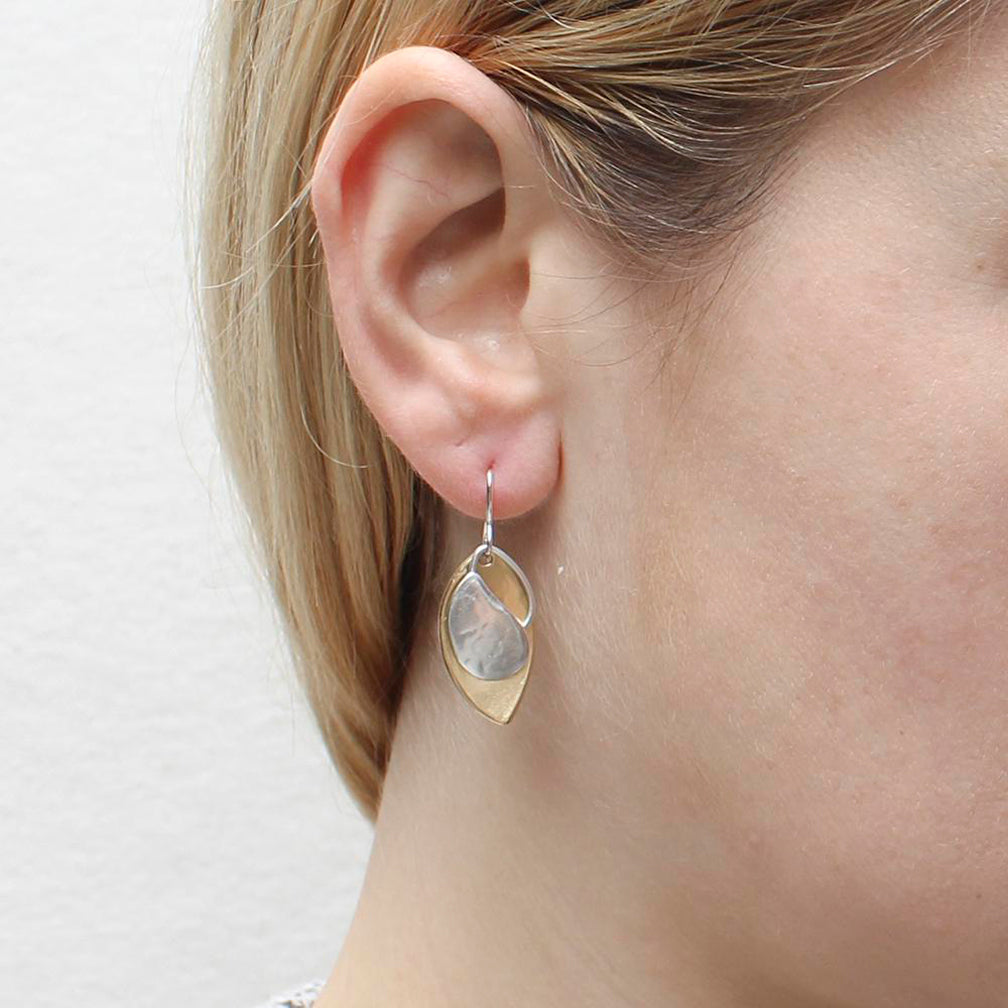 Marjorie Baer Wire Earrings: Teardrop with Ring and Leaf