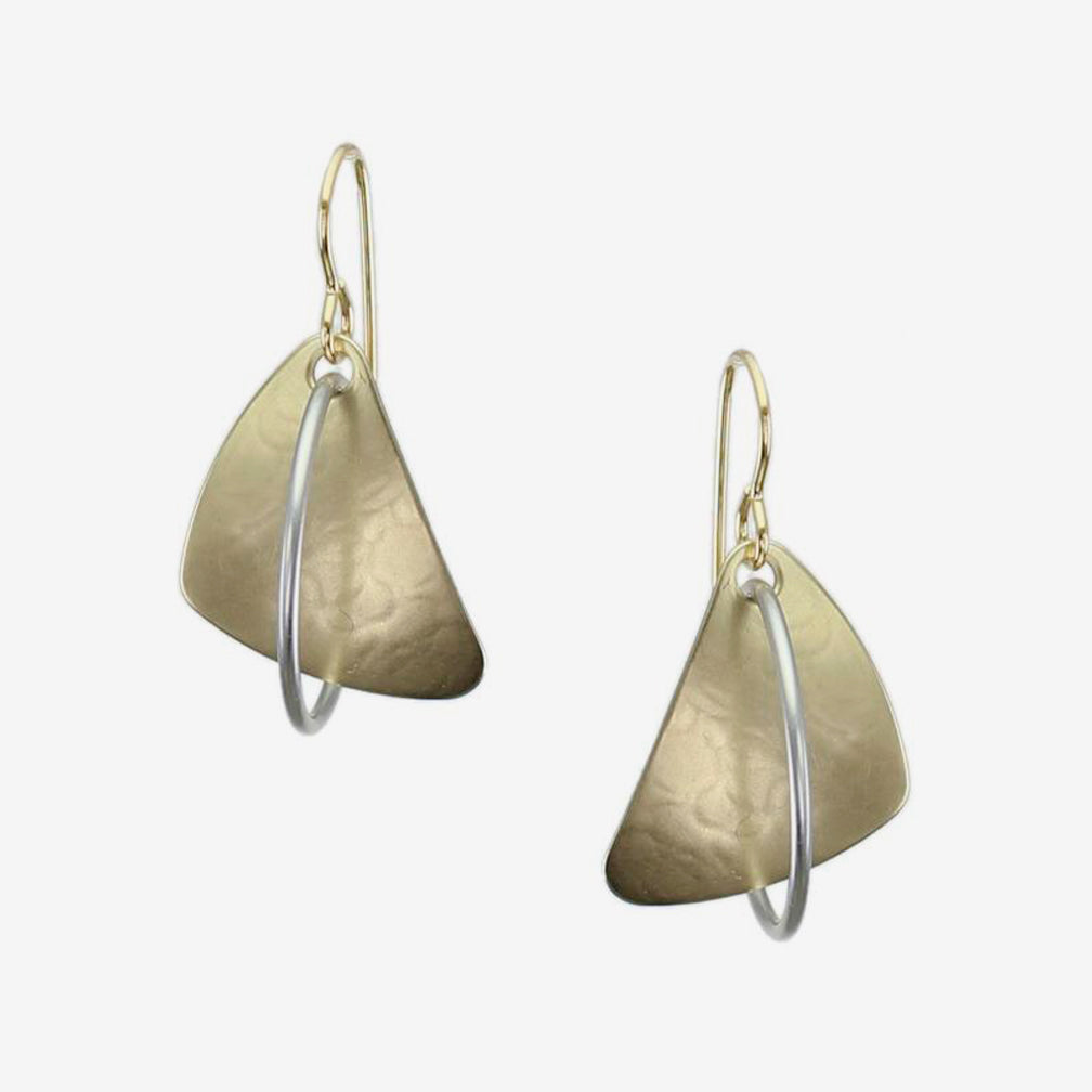 Marjorie Baer Wire Earrings: Rounded Triangle with Interlocking Ring