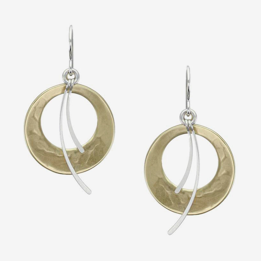 Marjorie Baer Wire Earrings: Cutout Discs with Swoops