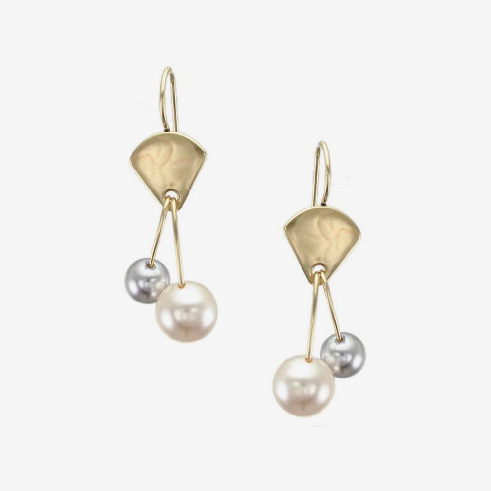 Marjorie Baer Wire Earrings: Fan with Two Pearl Drops