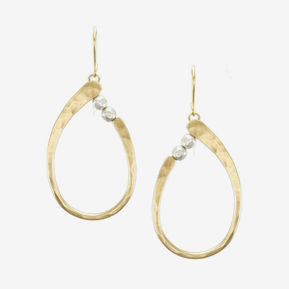 Marjorie Baer Wire Earrings: Oval Ring with Beads: Brass and Silver