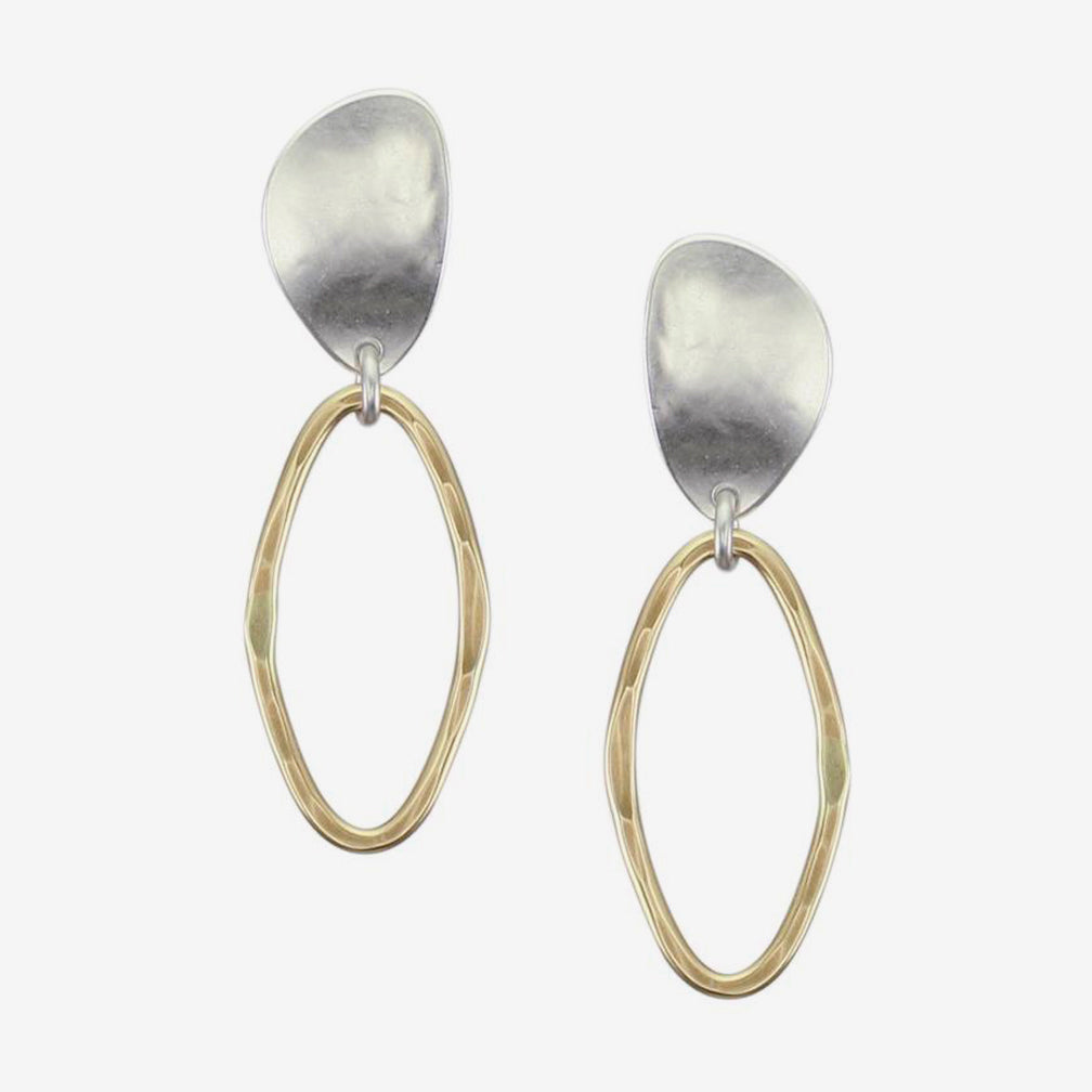 Marjorie Baer Clip Earrings: Organic Teardrop with Oval Ring
