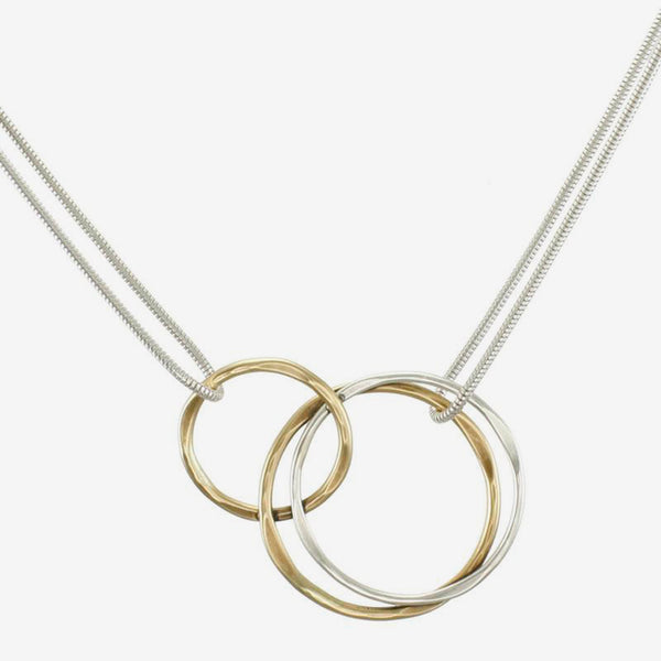 Marjorie Baer Necklace: Interlocking Hammered Thin Rings