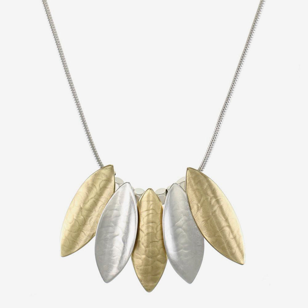 Marjorie Baer Necklace: Overlapping Concave and Convex Leaves