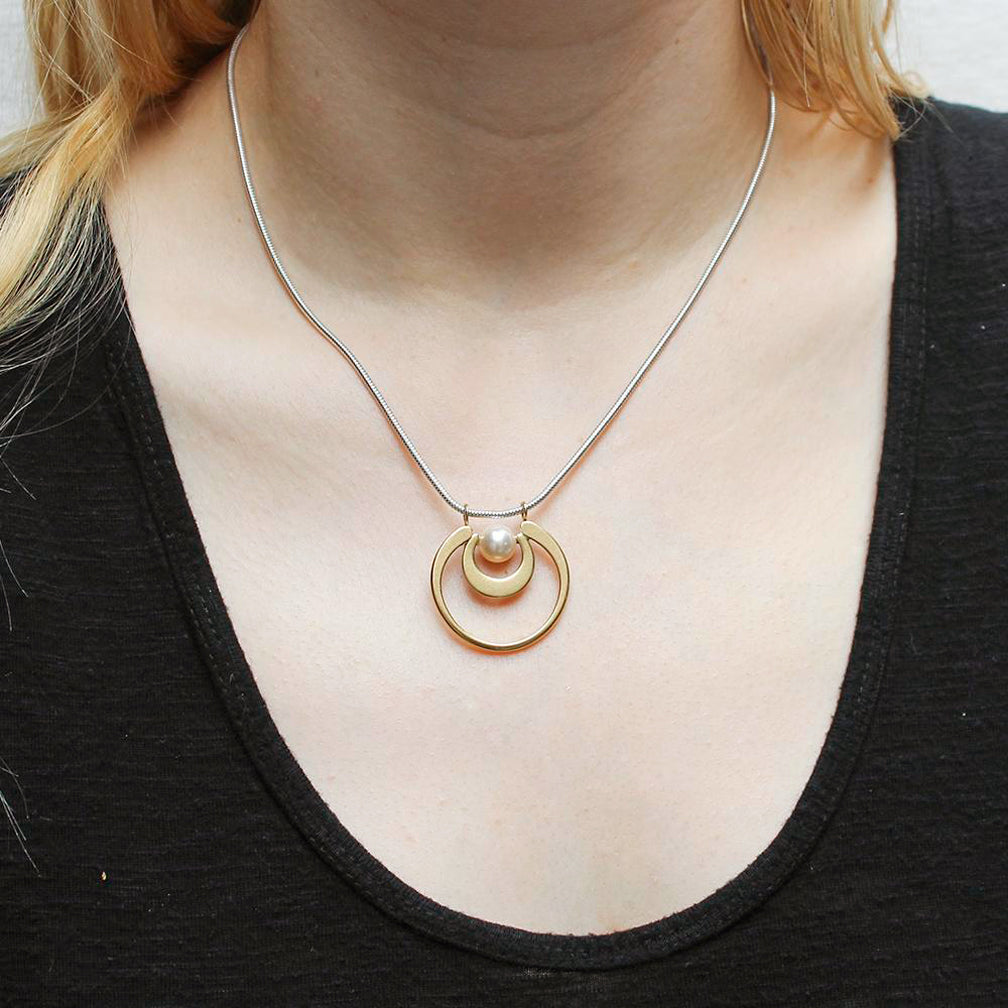 Marjorie Baer Necklace: Graduated Crescents with Cream Pearl