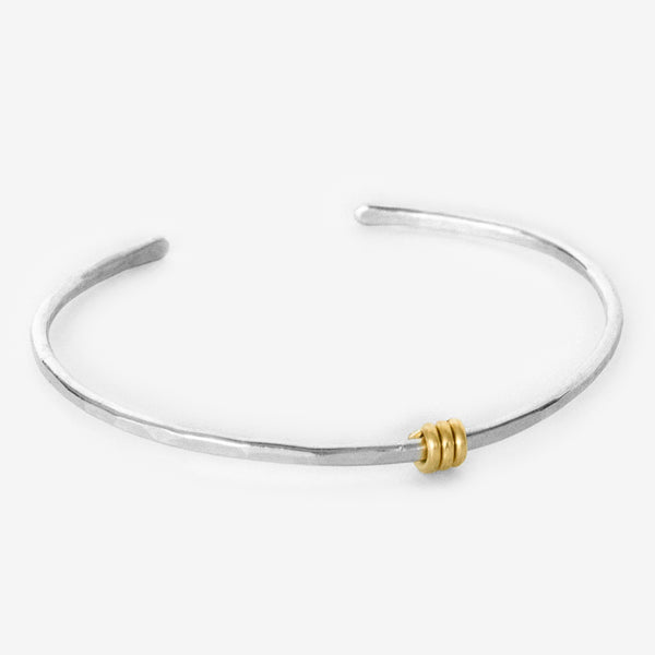 Mary Garrett Jewelry: Bracelet: Simple Silver Bracelet with Gold Triple Wrap Accent