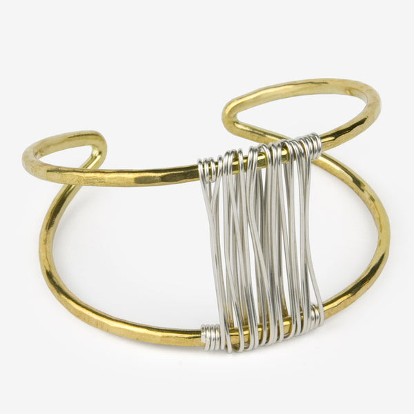 Mary Garrett Jewelry: Bracelet: Brass Marquise Cuff with Silver Wrap Accent