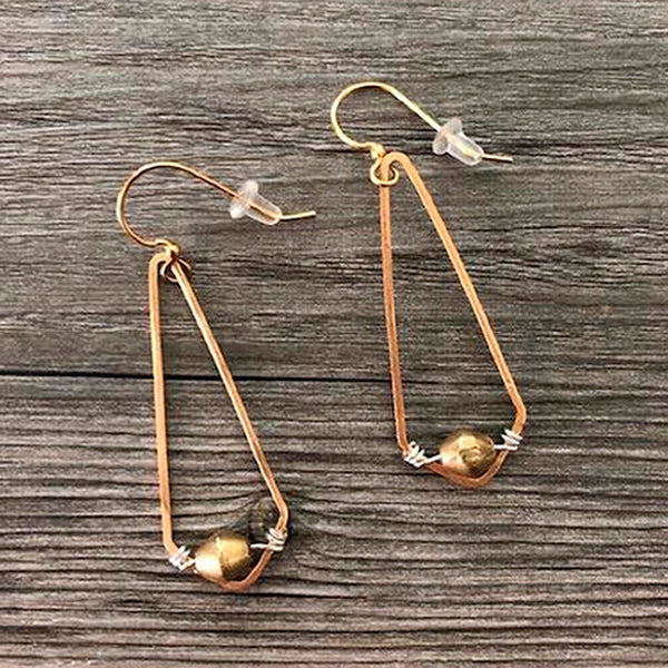 Mary Garrett Jewelry: Earrings: Brass Diamond with Gold Bead