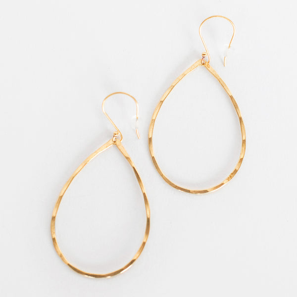 Mary Garrett Jewelry: Earrings: Brass Teardrop Hoop