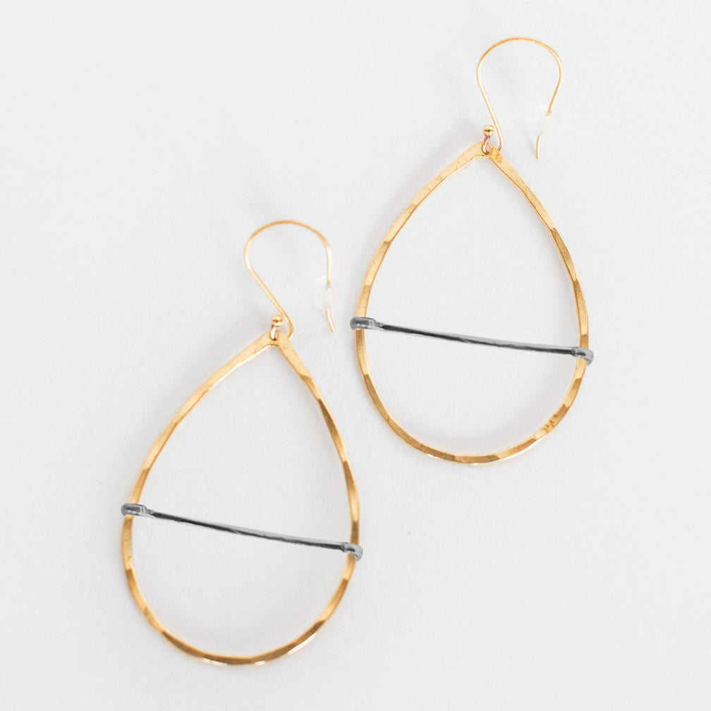 Mary Garrett Jewelry: Earrings: Brass Teardrop Bar Hoop