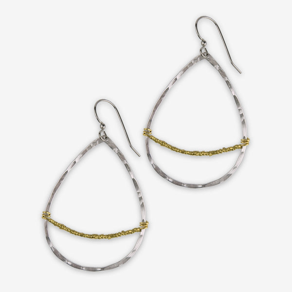 Mary Garrett Jewelry: Earrings: Silver Teardrop Hoop with Tiny Gold Bead Accent