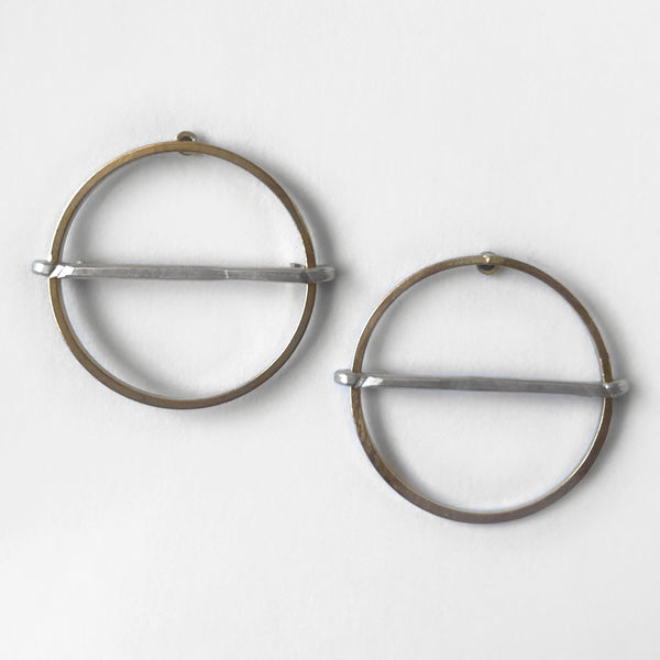 Mary Garrett Jewelry: Earrings: Medium Brass Circle Post with Silver Bar