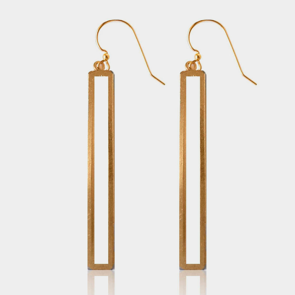 Mary Garrett Jewelry: Earrings: Open Brass Rectangle