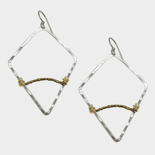 Mary Garrett Jewelry: Earrings: Silver Geometric Hoop with Tiny Gold Bead Accent