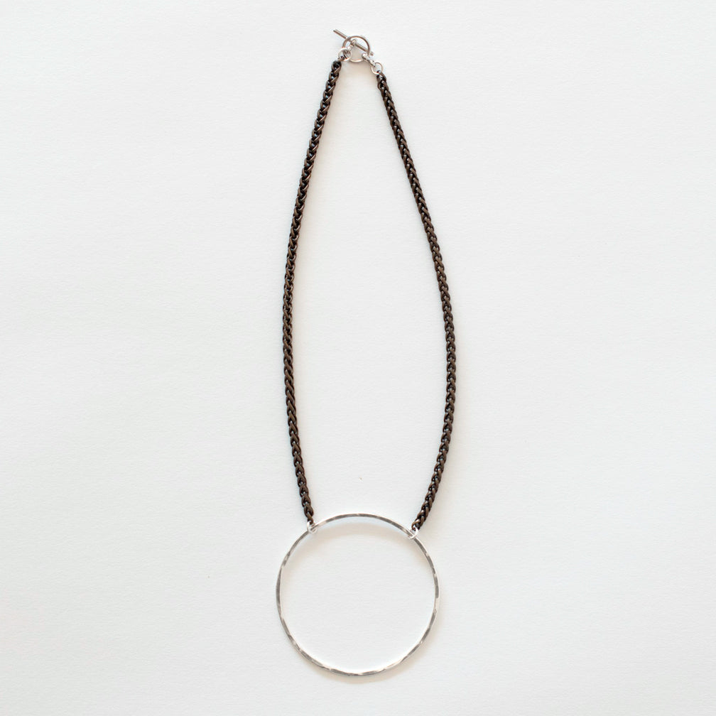 Mary Garrett Jewelry: Necklace: Short Silver Circle on Brass Wheat Chain