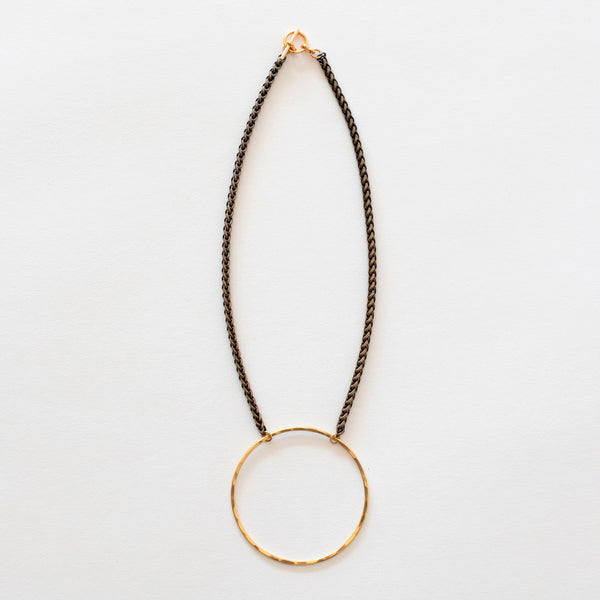 Mary Garrett Jewelry: Necklace: Short Brass Circle on Brass Wheat Chain