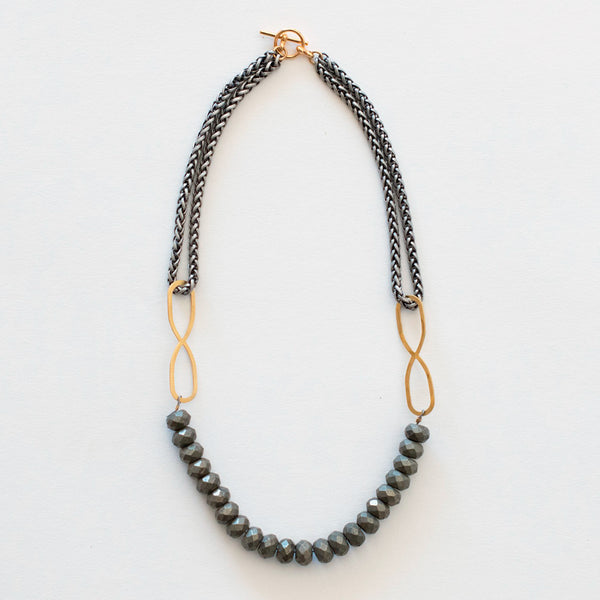 Mary Garrett Jewelry: Necklace: Brass Infinity Necklace: Pyrite with Silver Wheat Chain