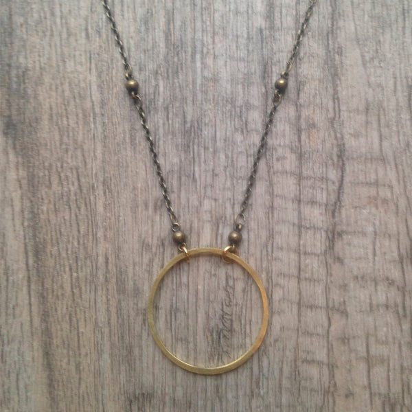 Mary Garrett Jewelry: Necklace: Medium Brass Circle on Silver Beaded Chain
