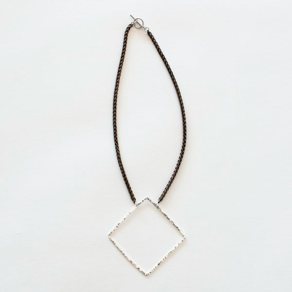 Mary Garrett Jewelry: Necklace: Short Silver Square on Brass Wheat Chain