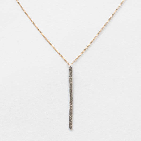 Mary Garrett Jewelry: Necklace: Dainty Hammered Silver Bar on Gold Chain