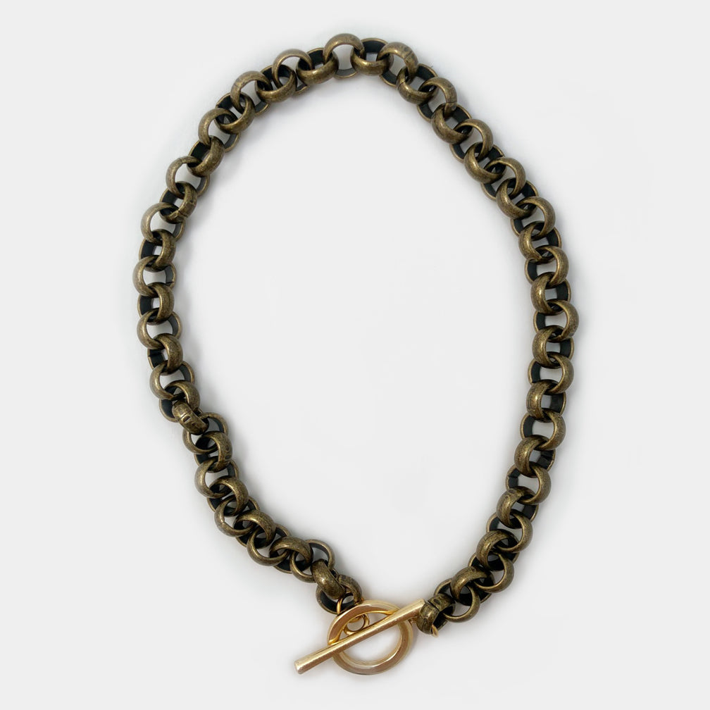 Mary Garrett Jewelry: Necklace: Large Brass Toggle on Brass Rolo Chain