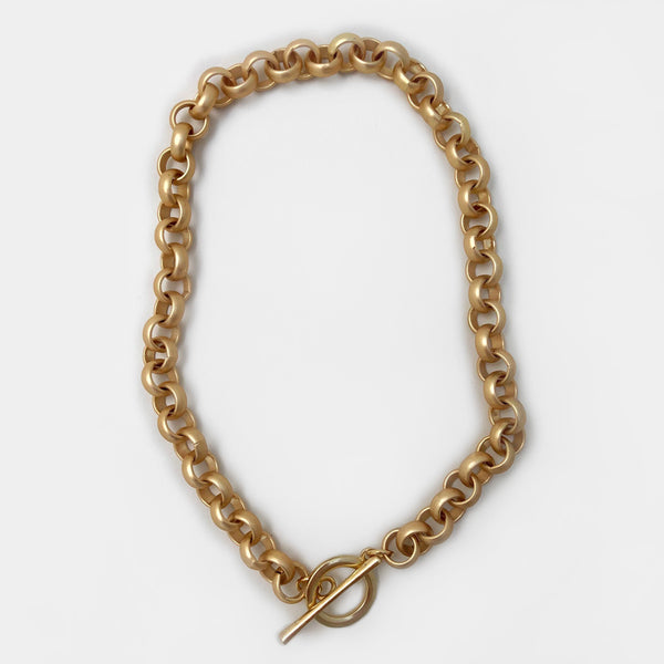Mary Garrett Jewelry: Necklace: Large Brass Toggle on Matte Gold Rolo Chain