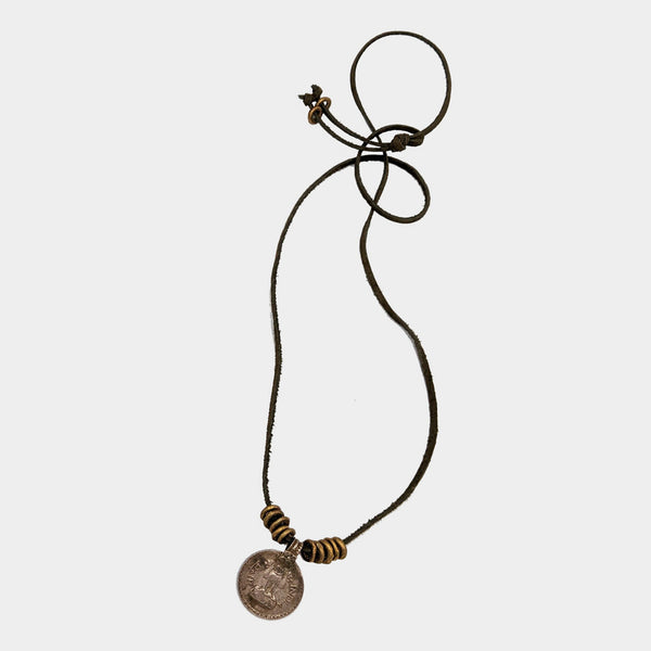 Mary Garrett Jewelry: Necklace: Indian Coin on Suede Leather Cord