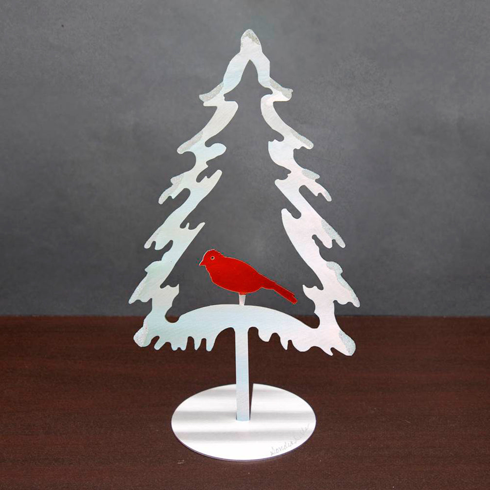 Metal Petal Art: Freestanding Evergreen Bird