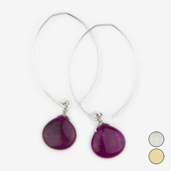 Noon Designs: Earrings: Core Collection, Boysenberry Jade