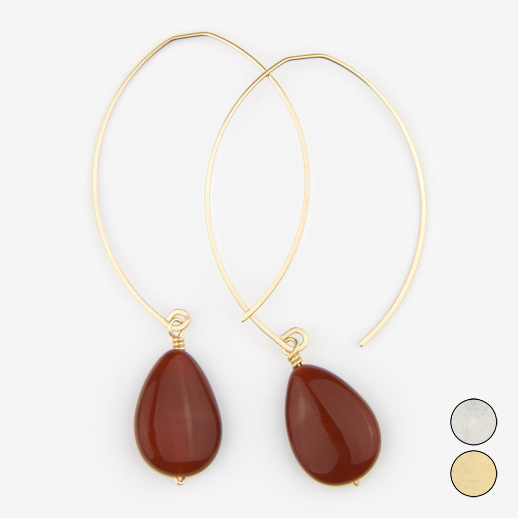 Noon Designs: Earrings: Core Collection, Carnelian