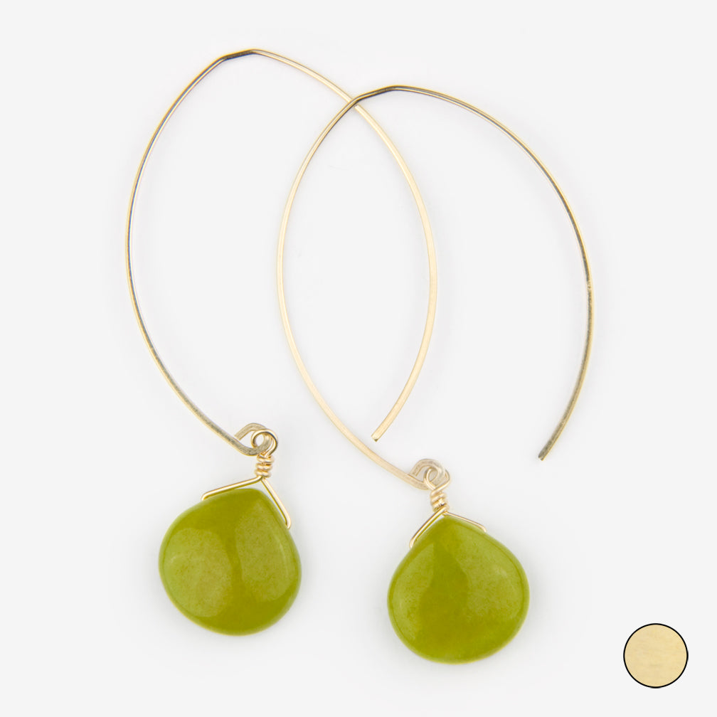 Noon Designs: Earrings: Core Collection, Chartreuse Jade