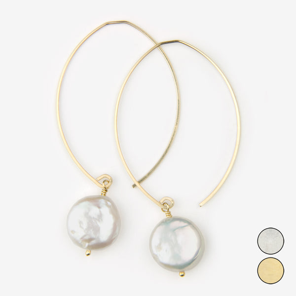 Noon Designs: Earrings: Core Collection, White Coin Pearl