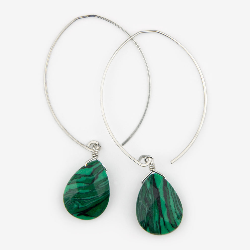 Noon Designs: Earrings: Core Collection, Malachite