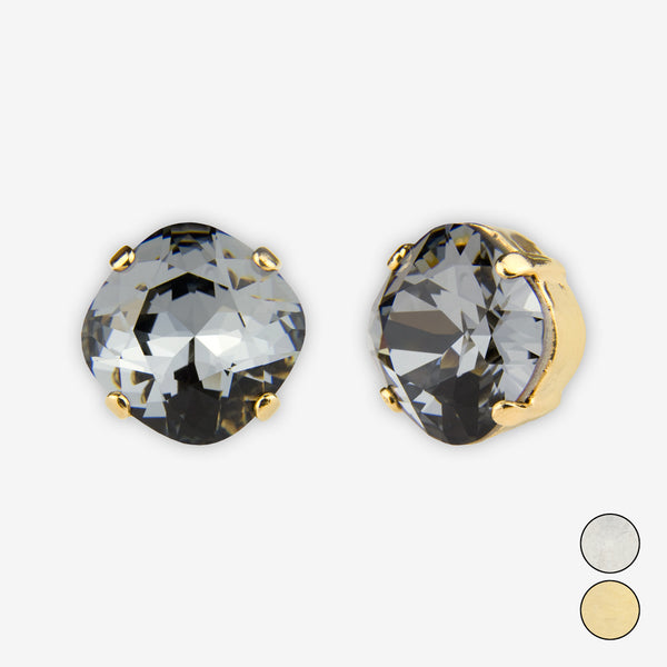 Noon Designs: Earrings: Large Dazzling Stud, Charcoal