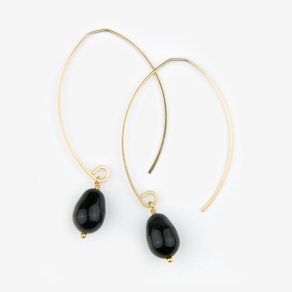 Noon Designs: Earrings: Mini Swarovski Pearl Drop, Jet Black