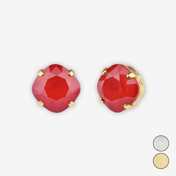 Noon Designs: Earrings: Small Dazzling Stud, Red Crush