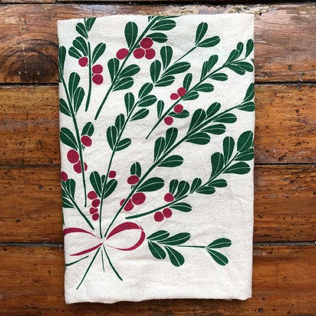 Noon Designs: Tea Towel: Mistletoe