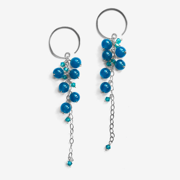 Noon Designs: Vine Nouveau Earrings, Blue & Teal/Silver